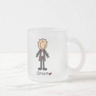 Stick Figure Groom T-shirts and Gifts Frosted Glass Coffee Mug