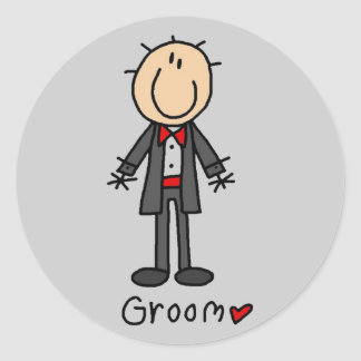 Stick Figure Groom T-shirts and Gifts Classic Round Sticker