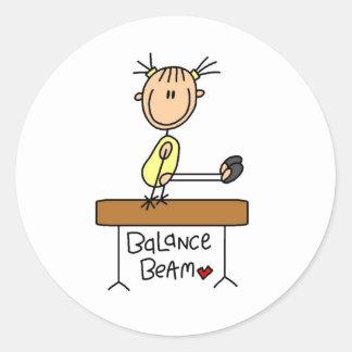 Stick Figure Gymnast on Balance Beam Stickers