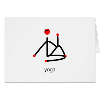 Stick figure-half lord of the fishes & yoga text. card