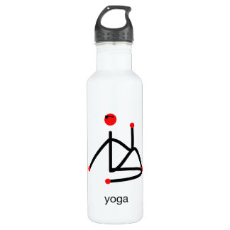 Stick figure-half lord of the fishes & yoga text. water bottle