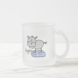 Stick Figure Hippo T-shirts and Gifts Frosted Glass Coffee Mug