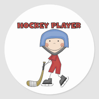Stick Figure Hockey Player Tshirts and Gifts Round Stickers
