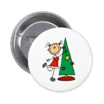 Stick Figure Holiday  Tree 2 Inch Round Button