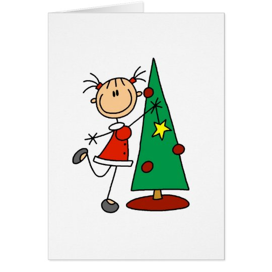 Stick Figure Holiday  Tree Card