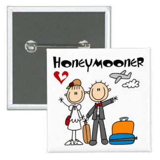 Stick Figure Honeymooner T-shirts and Gifts 2 Inch Square Button