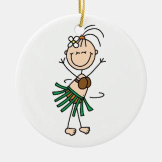 Stick Figure Hula Dance Ornament Round Ceramic Ornament