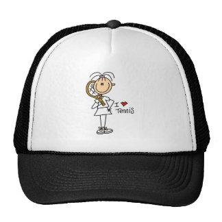 Stick Figure I Heart Tennis Baseball Cap