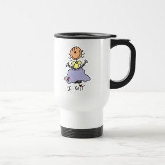 Stick Figure I Knit Knitting Travel Mug/Cup Travel Mug