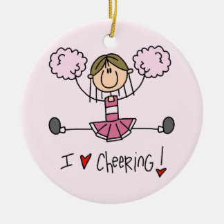 Stick Figure I Love Cheering T-shirts and Gifts Ceramic Ornament