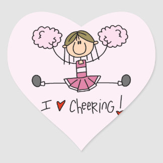 Stick Figure I Love Cheering T-shirts and Gifts Heart Sticker