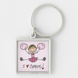 Stick Figure I Love Cheering T-shirts and Gifts Keychain