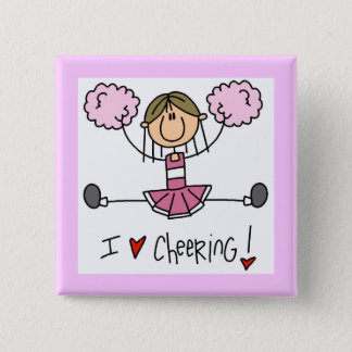 Stick Figure I Love Cheering T-shirts and Gifts Pinback Button