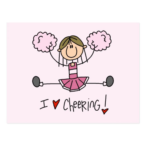 Stick Figure I Love Cheering T-shirts and Gifts Postcard