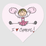 Stick Figure I Love Cheering T-shirts and Gifts Heart Stickers