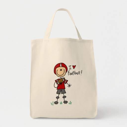 Stick Figure I Love Football T-shirts and Gifts Canvas Bags