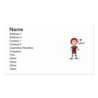 Stick Figure I Love Football T-shirts and Gifts Double-Sided Standard Business Cards (Pack Of 100)
