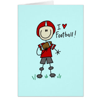 Stick Figure I Love Football T-shirts and Gifts Card