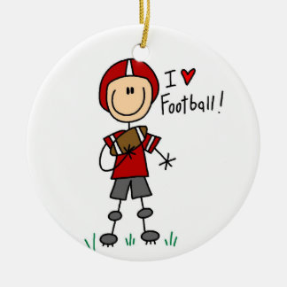 Stick Figure I Love Football T-shirts and Gifts Double-Sided Ceramic Round Christmas Ornament