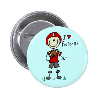 Stick Figure I Love Football T-shirts and Gifts Pinback Button