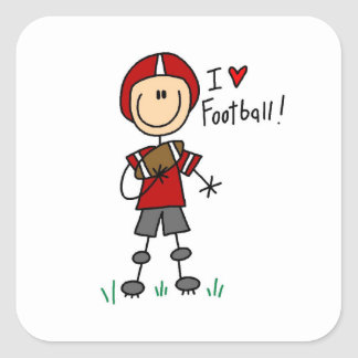 Stick Figure I Love Football T-shirts and Gifts Square Sticker