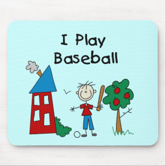Stick Figure I Play Baseball Tshirts and Gifts Mouse Pad