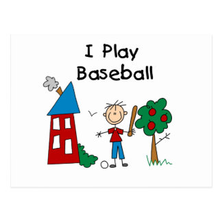 Stick Figure I Play Baseball Tshirts and Gifts Postcard