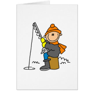 Stick Figure Ice Fishing Card