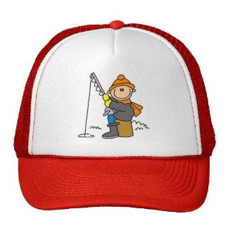 Stick Figure Ice Fishing Trucker Hat