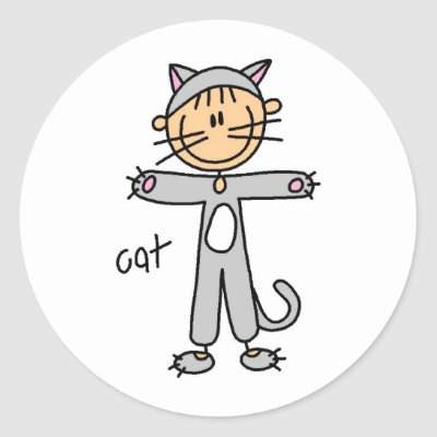 Cat in a frog animal suit. Keywords: Stick Figure In Cat Suit Sticker by