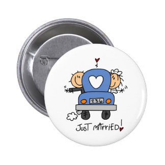 Stick Figure Just Married 2 Inch Round Button
