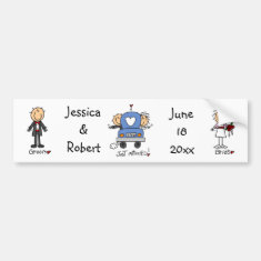 Stick Figure Just Married Bumper Stickers