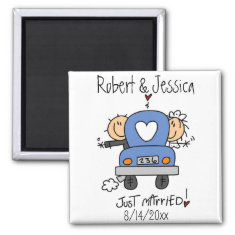 Stick Figure Just Married Fridge Magnets