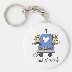 Stick Figure Just Married Key Chain