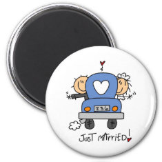 Stick Figure Just Married Magnets