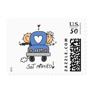 Stick Figure Just Married Postage
