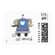 Stick Figure Just Married Postage Stamps