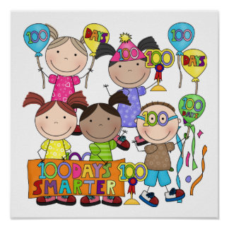 Stick Figure Kids 100 Days Smarter Posters