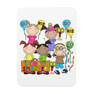 Stick Figure Kids 100 Days Smarter Rectangular Photo Magnet