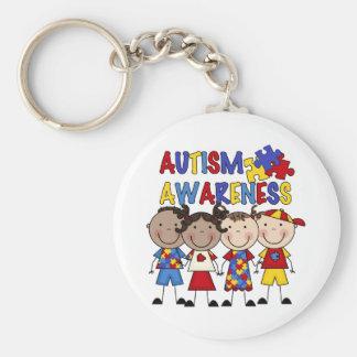 Stick Figure Kids Autism Awareness Basic Round Button Keychain