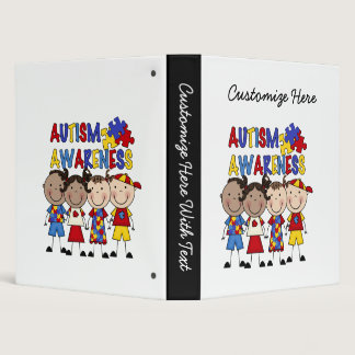 Stick Figure Kids Autism Awareness Binder