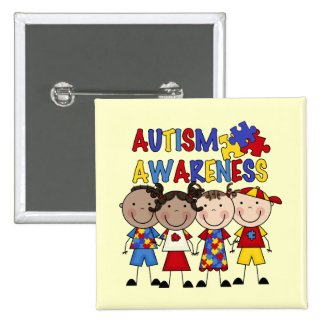 Stick Figure Kids Autism Awareness Button