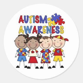Stick Figure Kids Autism Awareness Classic Round Sticker