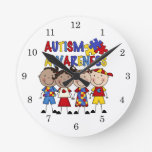 Stick Figure Kids Autism Awareness Clock