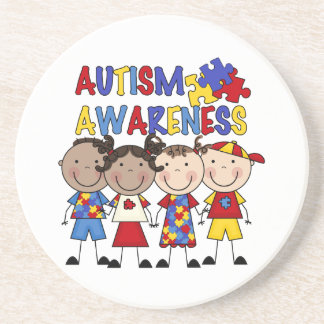 Stick Figure Kids Autism Awareness Coaster