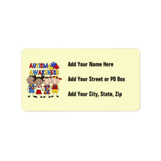 Stick Figure Kids Autism Awareness Label