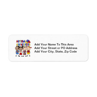Stick Figure Kids Autism Awareness Label