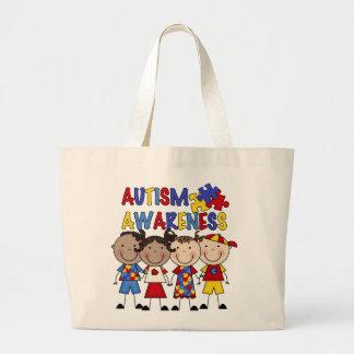 Stick Figure Kids Autism Awareness Large Tote Bag