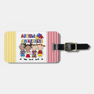Stick Figure Kids Autism Awareness Luggage Tag