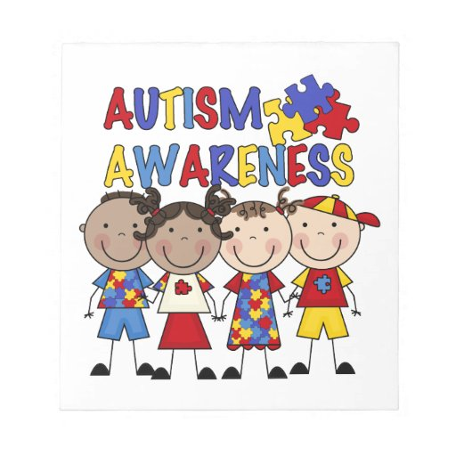 Stick Figure Kids Autism Awareness Notepads